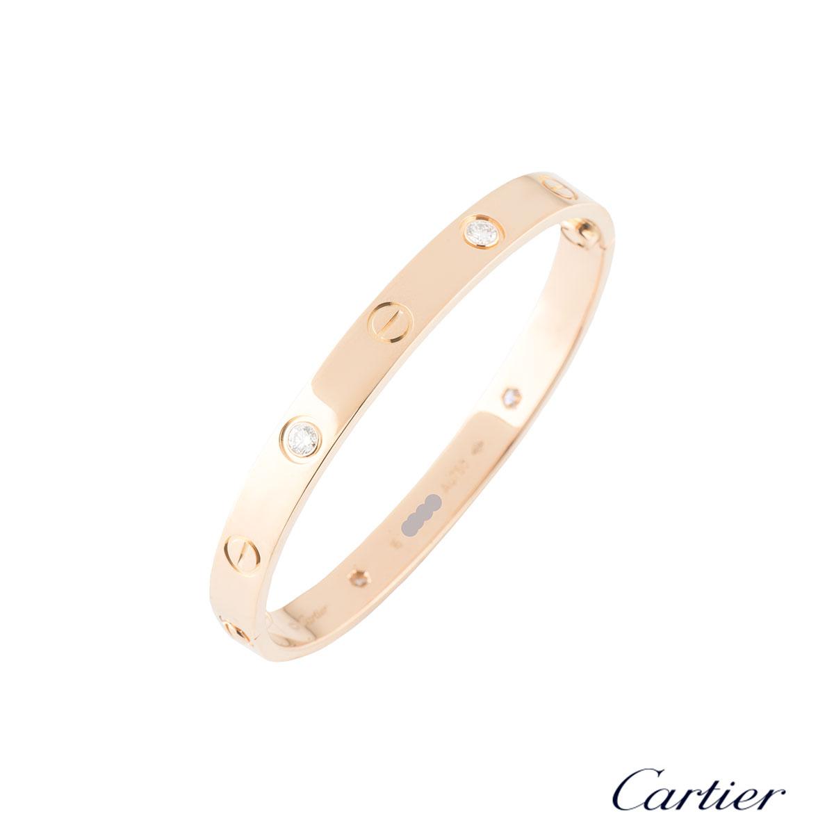 CartierRose Gold Half Diamond Love Bracelet Size 16B6036016